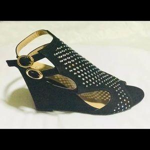 Forever Rhinestone Wedge Shoes Black Peep Toe